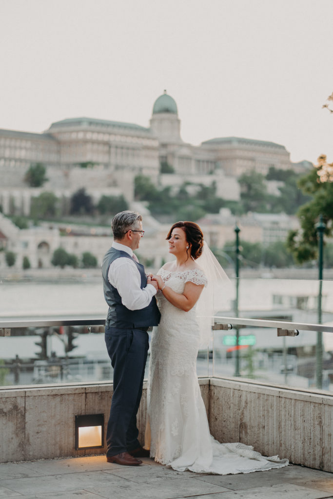 Outdoor Wedding ceremony at Budapest Marriott Hotel with views of the danube and Buda Castle,planning by Dream Weddings Budapest